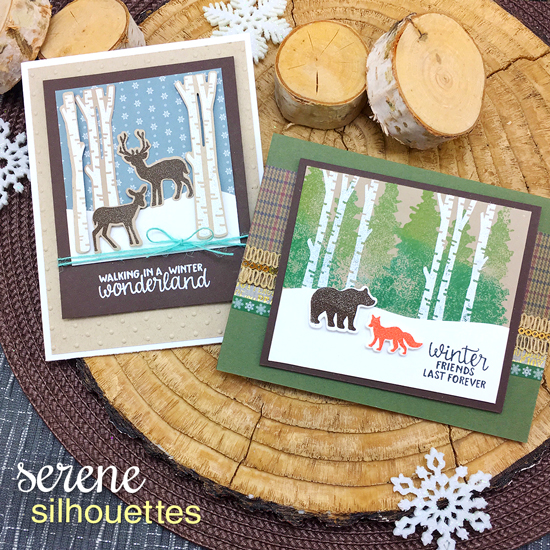 Woodland Animals Winter Cards by Jennifer Jackson | Serene Silhouettes stamp set by Newton's Nook Designs #newtonsnook