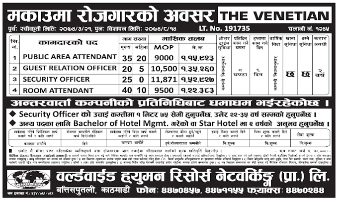 Jobs in Macau for Nepali, Salary Rs 1,52,927