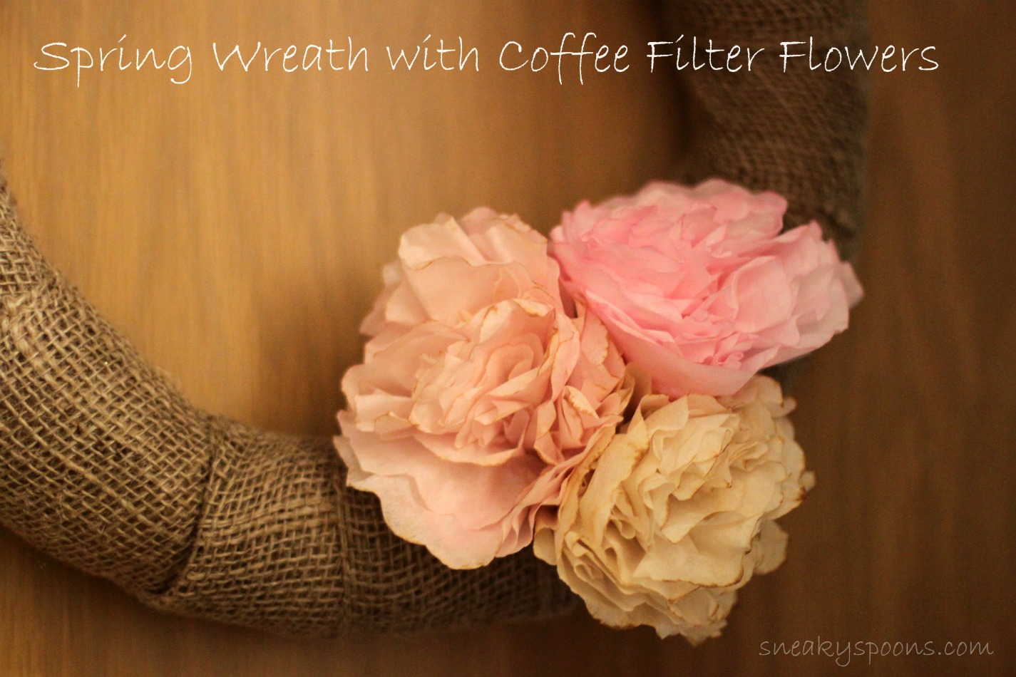 Coffee Filter Flower Burlap Wreath | SneakySpoons