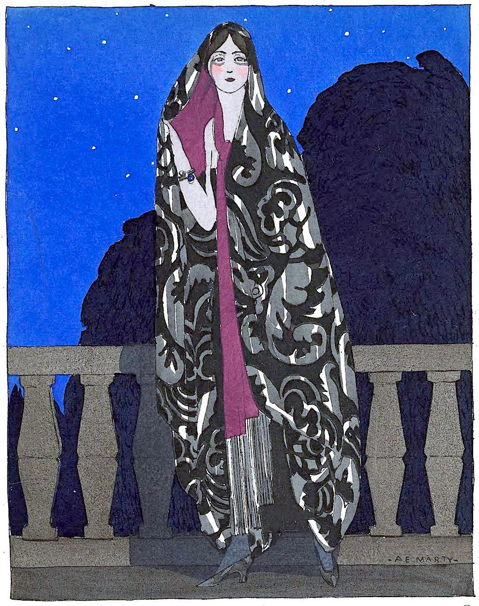 an A.E. Marty 1922 fashion illustration of a woman on a balcony at night