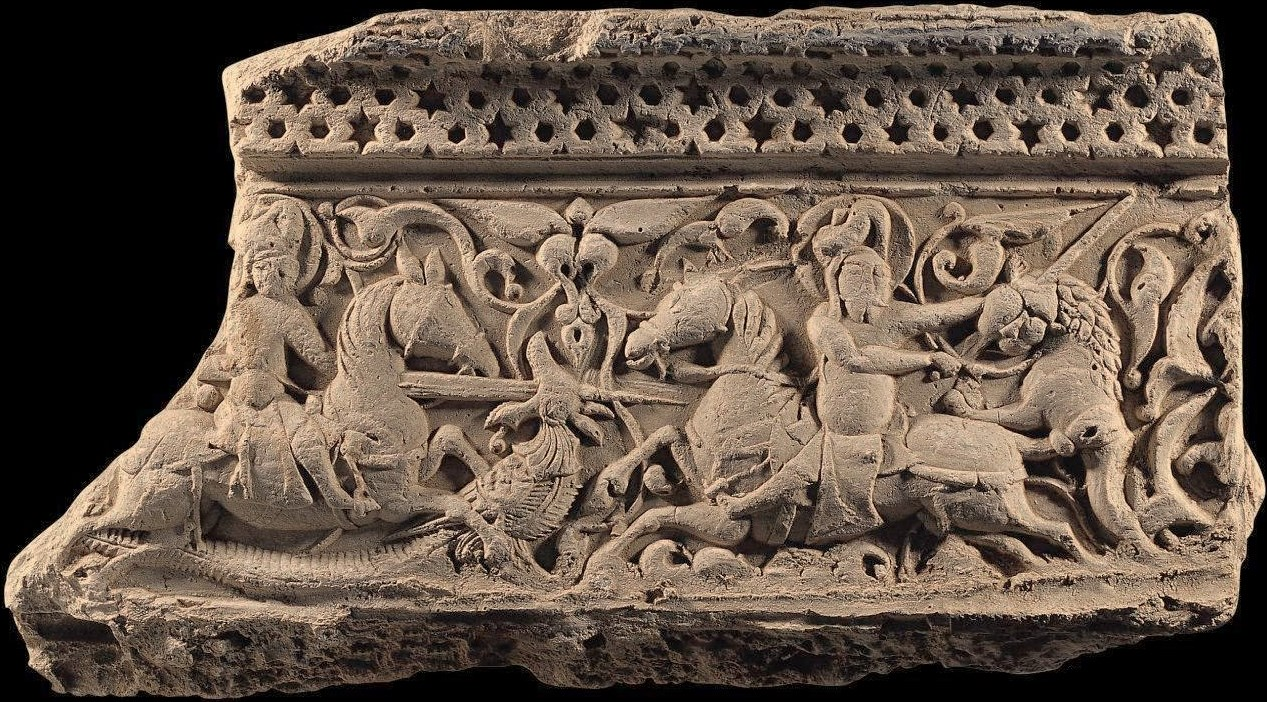 Plaster Relief of Anatolian Seljuks, dim carved marble represents a lion, dragon and cavalries.