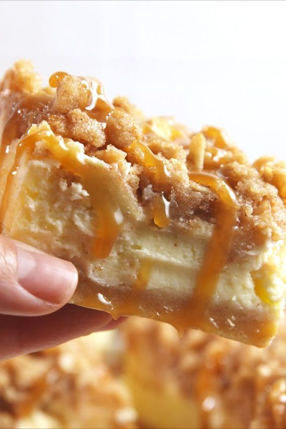 Caramel Apple Cheesecake Bars combine apples and cheesecake to make one delicious dessert.