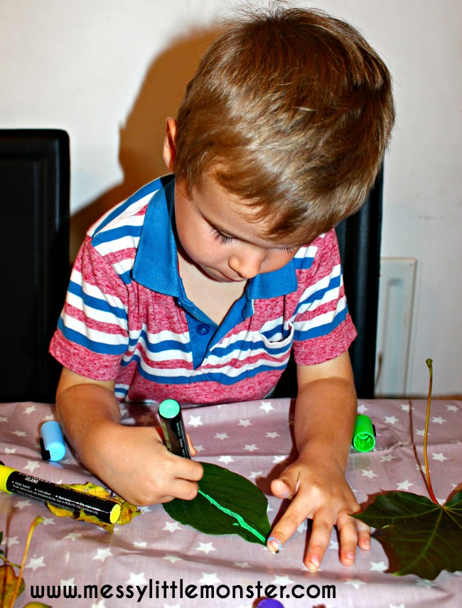 Leaf puppet activity for kids. A simple fall/ autumn craft inspired by the book Lois Ehlert.