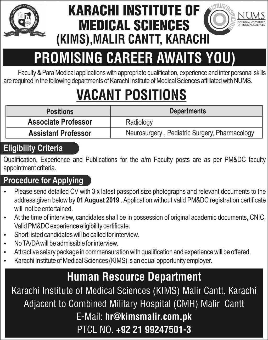 Karachi Institute of Medical Sciences KIMS Faculty Jobs 2019