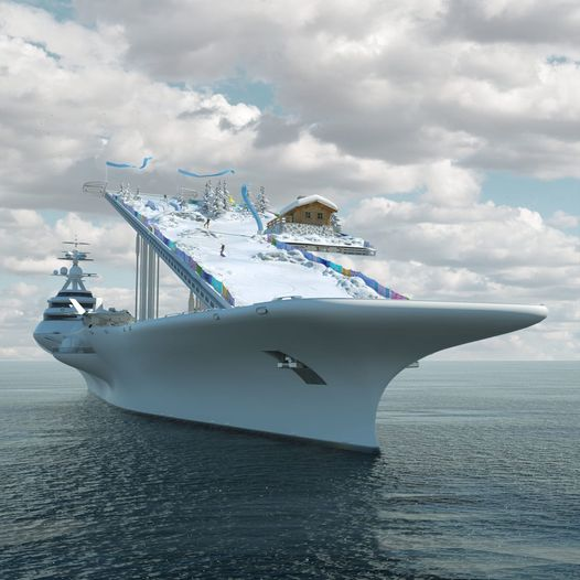 An aircraft carrier turns into a mobile green island that can expand... Photos and video The name of the aircraft carrier has always been associated with wars, military equipment and the implementation of remote naval missions in stations and seas, with squadrons of aircraft stacked in attack and combat mode.