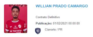 Lateral esquerdo Willian Formiga aparece no BID da CBF como jogador do Cianorte e não é certo que fique no Vila Nova