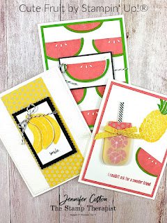 Stampin' Up!®'s Cute Fruit Stamp Set.  See blog for video & supply list.  #StampinUp #StampTherapist