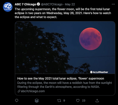 tweet about the may 26 lunar eclipse