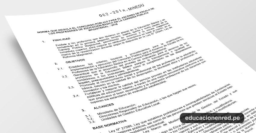 MINEDU publicó Anexo de la R. M. Nº 062-2018-MINEDU «Norma que regula el Concurso Público para el Ascenso de Escala de los Profesores de Educación Básica en la Carrera Pública Magisterial - 2018» [.PDF] www.minedu.gob.pe
