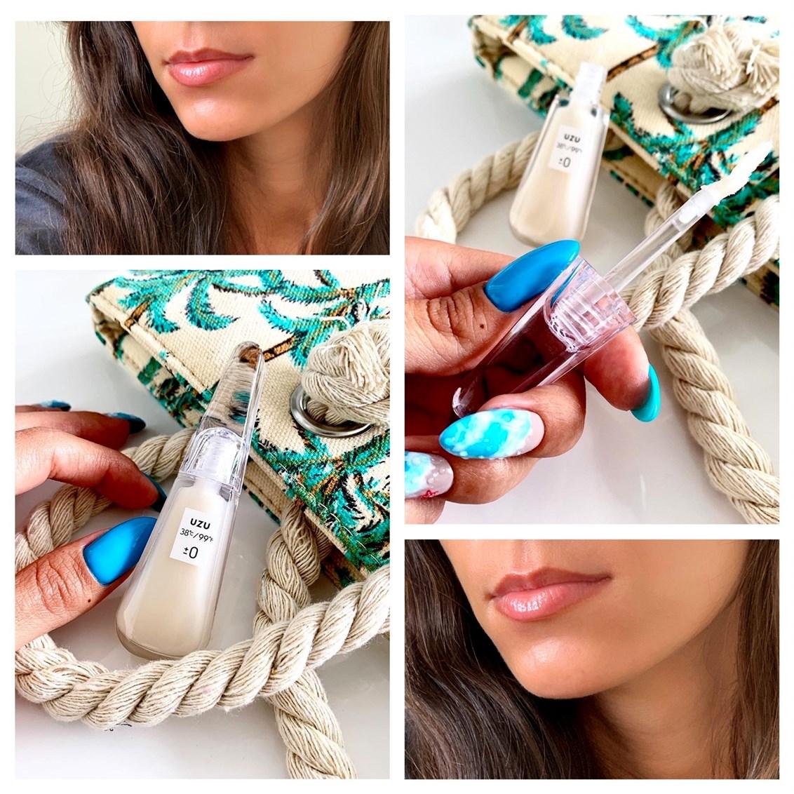 UZU Flowfushi 38˚C/99˚F Lip Treatment swatch