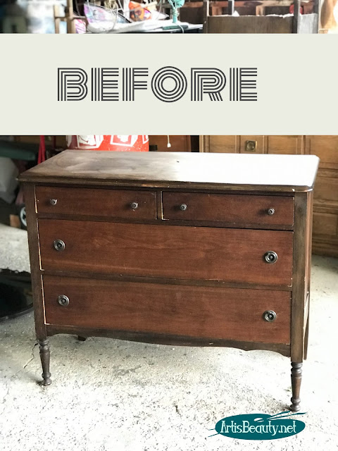 Vintage dresser makeover using General Finishes Milk Paint before and after