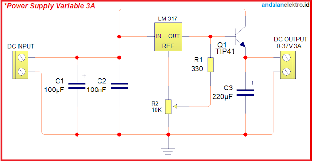 skema rangkaian Power Supply Variable 3A menggunakan LM 317 dan Transistor