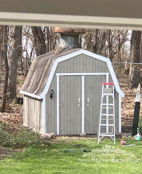 Shed Makeover with paint and Old Sign Stencils Bliss-Ranch.com