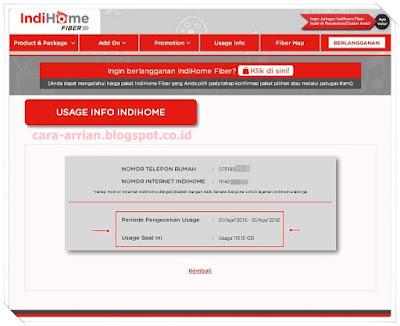 Usage info indihome