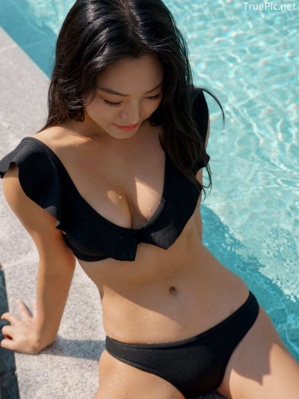 Korean model and fashion - Choi Seok Yeong - Alice Black and Blue Bikini - Picture 2