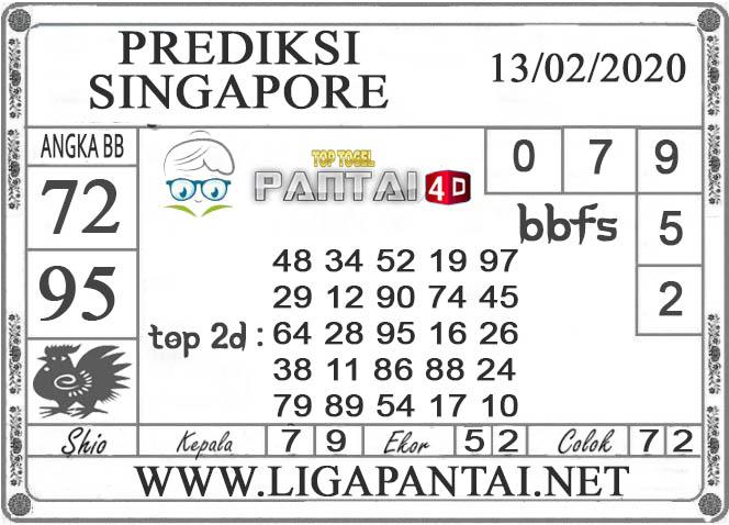 PREDIKSI TOGEL SINGAPORE PANTAI4D 13 FEBRUARI 2020