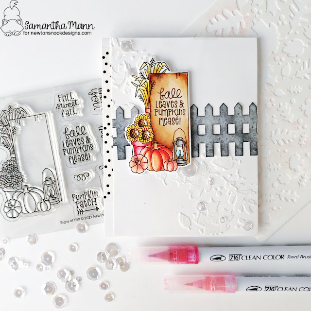 Fall Wooden Sign Card by Samantha Mann | Signs of Fall Stamp Set, Falling Leaves and Fence Die Set by Newton's Nook Designs #newtonsnook