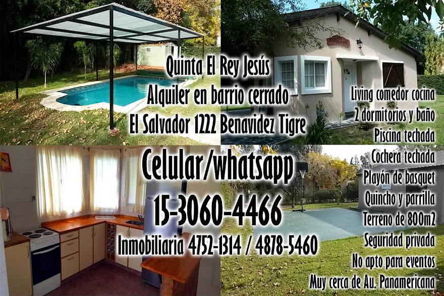 Alquiler de casa quinta en barrio cerrado de Benavidez Tigre con living comedor, cocina, 2 dormitorios, baño, quincho, cochera techada, piscina techada, playón de basquet, parrilla, está sobre un terreno de 800m2 con seguridad privada, ubicada muy cerca de autopista Panamericana. Celular/whatsapp: 15-3060-4466 Inmobiliaria: 4752-1314 / 4878-5460