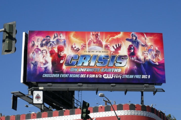 Arrowverse Crisis on Infinite Earths CW billboard