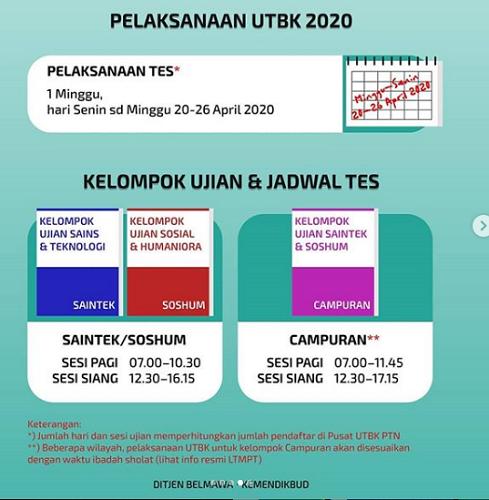 jadwal utbk 2020