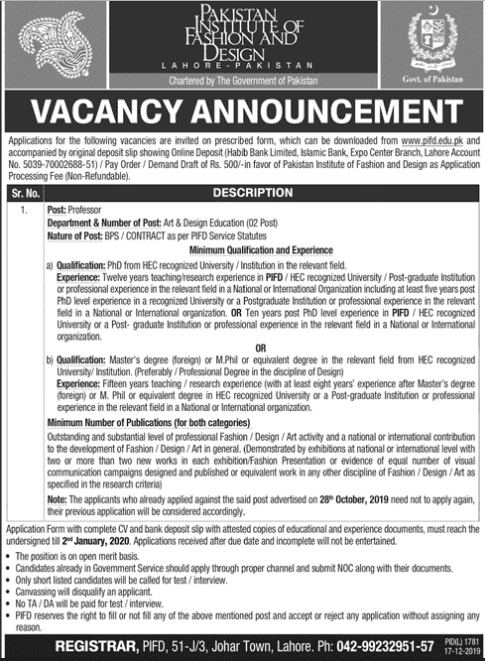 Jobs in Pakistan Institute of Fashion and Design 2019