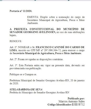Prefeitura de Georgino Avelino volta a nomear secretário exonerado