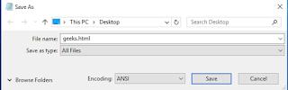 penyimpanan file html pada notepad dengan ekstensi .html