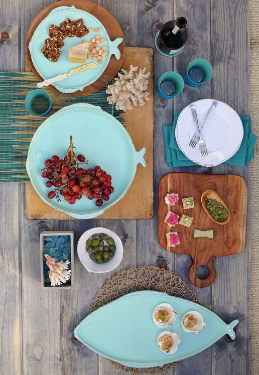 Aqua Blue Fish Dishes and Plates by Vietri