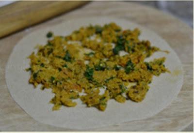 رغيف بالدقيق الكامل محشي بالخضر والجبن بدون فرن
