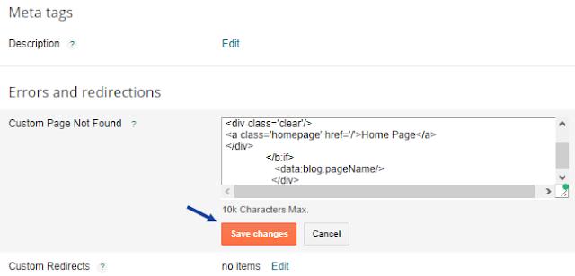 adding error page in blogspot
