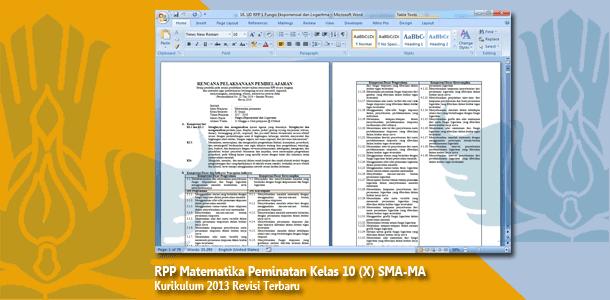 RPP Matematika Peminatan Kelas 10 (X) SMA-MA Kurikulum 2013 Revisi Terbaru Tahun 2019-2020