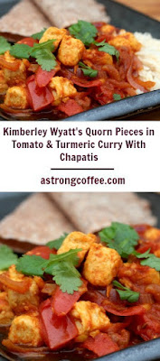 A healthy meatfree curry using quorn. This contains tomatoes and tumeric and homemade chapatis