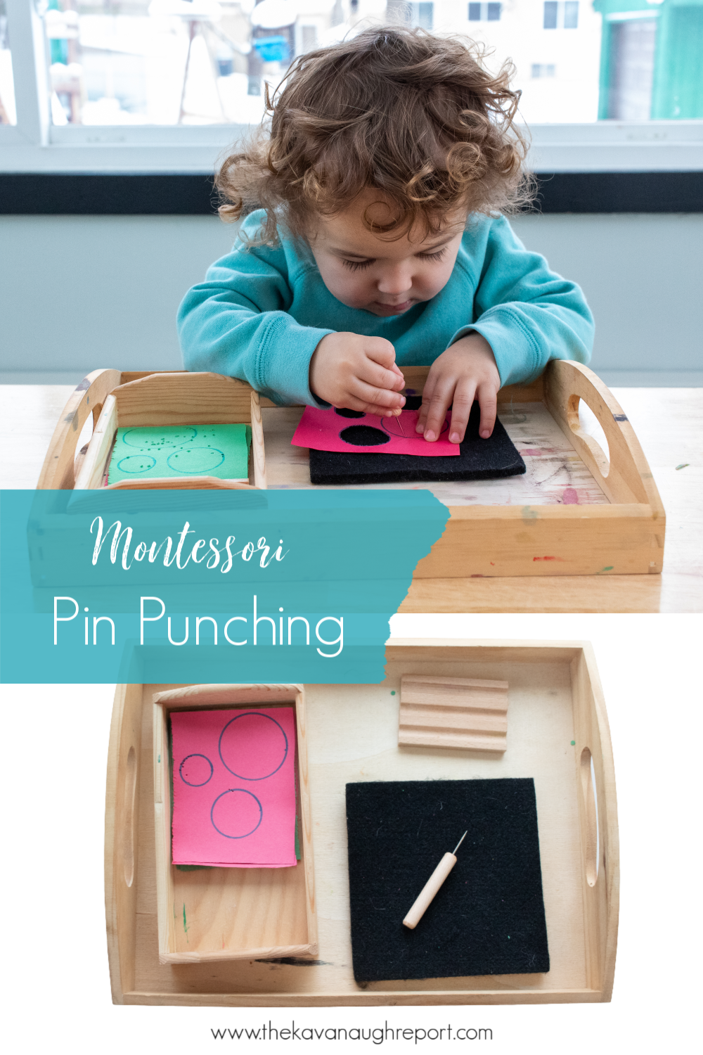 A look a Montessori pin punching work, a fun pre-writing activity for preschoolers