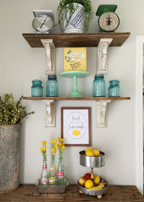 Summer Home Decor - Lemonade Printable  -  Vintage Mason Jars - Open Shelves