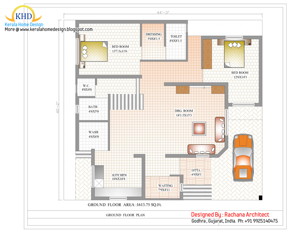 Duplex house plan and elevation 2741 sq ft kerala for Duplex layout plan