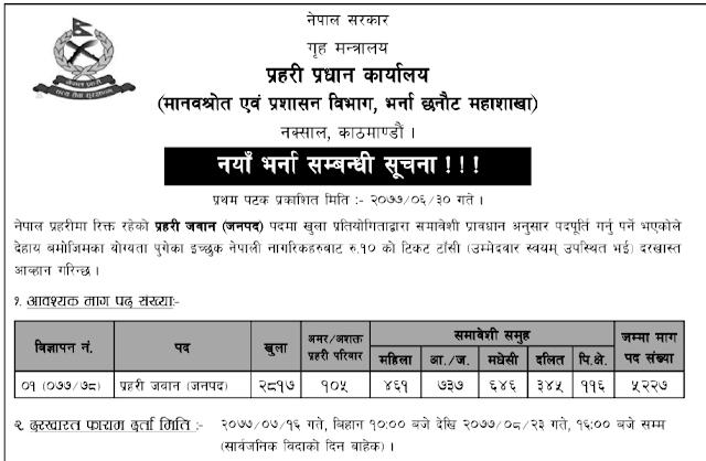नेपाल प्रहरी जवान पदमा भर्ना सम्बन्धी सुचना
