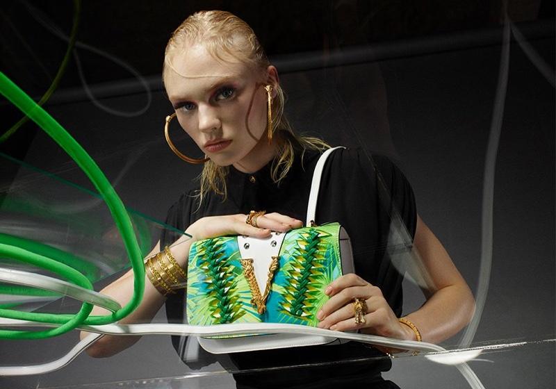 Vilma Sjöberg fronts Versace Virtus handbag summer 2020 campaign.
