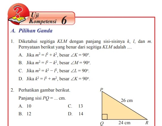 Kunci Jawaban Matematika Kelas 8 Halaman 45 46 47 48 49 50 51 52 Uji Kompetensi 6 Pilihan Ganda Dan Esai Wali Kelas Sd