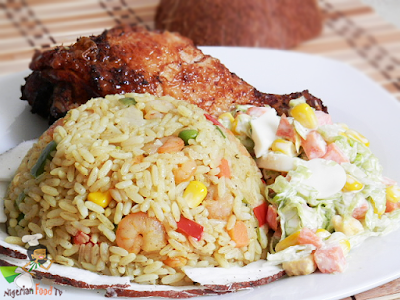 Coconut Fried Rice , Nigerian food tv, nigerian coconut fried rice, coconut rice, nigerian food recipes