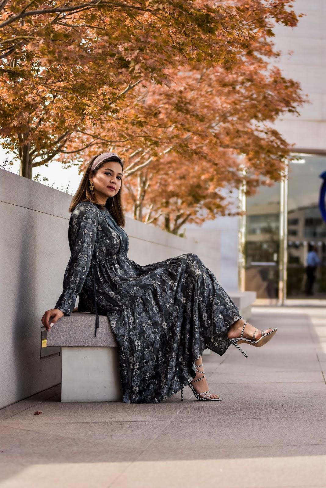 silky dress, new year new you, fashion, street style, girly girl outfit, star earrings, studded headband, silk printed gray dress, myriad musings, saumya shiohare