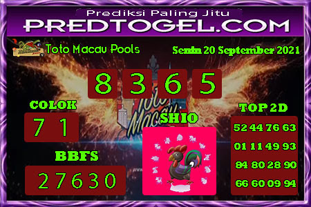Pred Macau Senin 20 September 2021