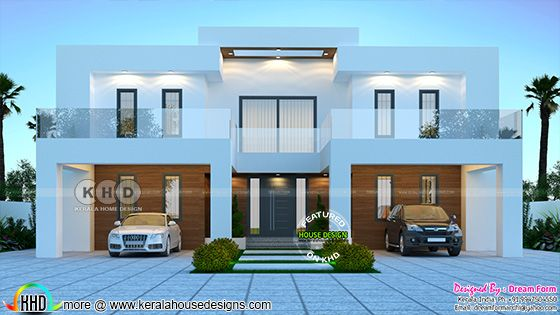 Front elevation rendering of the Flat roof contemporary house