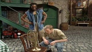 two members of Stompy see a tuba, and they would like to find its rightful owner and also use it to make music. Sesame Street Let's Make Music