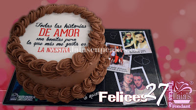 tarta personalizada fondant impresión comestible frase de amor cumpleaños pareja aniversario 27 años laia's cupcakes puerto sagunto