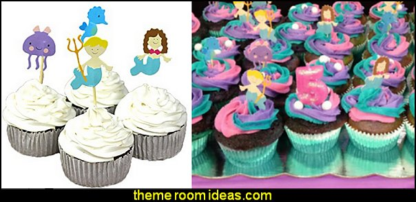 Under The Sea Theme Mermaid Couple Cake Cupcake Decorative Cupcake Topper for Kids Birthday Party Themed Party Baby Shower