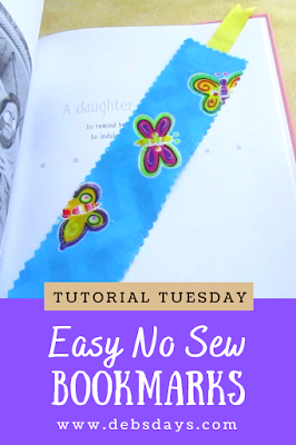 Homemade Quick and Easy No Sew Fabric Bookmark Craft Project