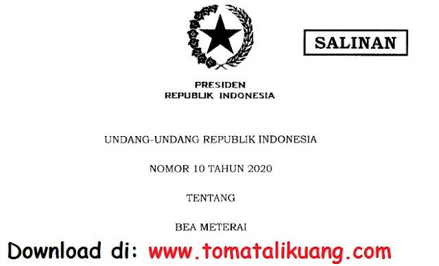 undang-undang uu nomor 10 tahun 2020 tentang bea materei pdf tomatalikuang.com