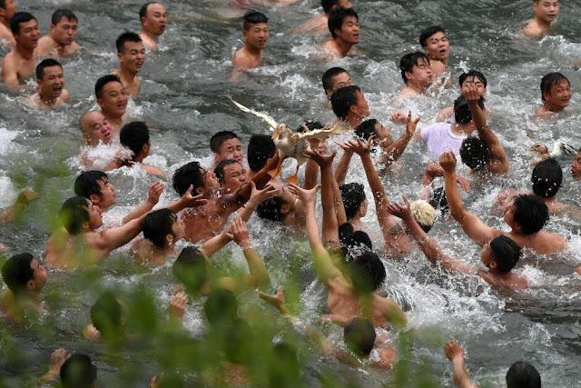 un grupo de hombres agarran un pato en el agua