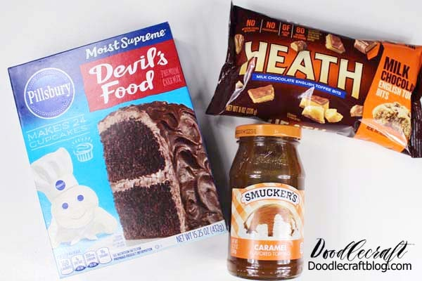 Recipe and ingredients for the most delicious toffee bit, caramel, chocolate ganache poke cake!