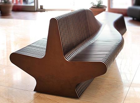 Dwustronna duża ławka do poczekalni nowoczesny styl drewniana wewnętrzna cena producenta